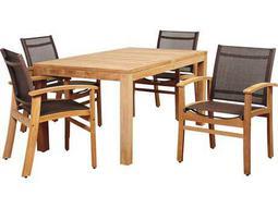 International Home Miami Amazonia Devlin 5 Piece Teak Rectangular Dining Set with Brown Sling Chair