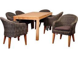 International Home Miami Amazonia BrynEucalyptus 7 Piece Teak/Wicker Rectangular Dining Set