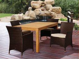 International Home Miami  Amazonia Teak/Wicker Rectangular Five Piece Porter Dining Set with Off-White Cushions