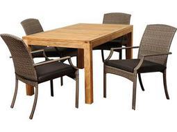 International Home Miami  Teak/Wicker Amazonia Rectangular Five Piece Wicker Shelton Dining Set with Grey Cushions