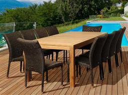 International Home Miami  Amazonia Teak/Wicker Rectangular 11 Piece Christopher Dining Set