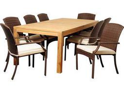 International Home Miami  Amazonia Teak/Wicker Rectangular Nine Piece Royce Dining Set with Off-White Cushions