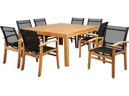 International Home Miami Amazonia Sunset View 9 Piece Teak Square Dining Set with Black Sling Chair