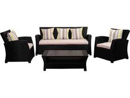 International Home Miami Atlantic Staffordshire 4 Piece Black Wicker Seating Set with Light Grey Cushions