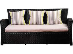 International Home Miami Atlantic Staffordshire Black Wicker Sofa with Light Grey Cushions