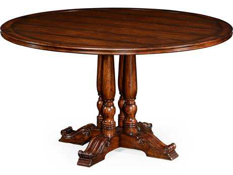 Farmhouse Medium Walnut Country Distressed 54 Round Dining Table
