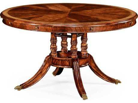 Jonathan Charles Buckingham Medium Antique Mahogany and Satinwood 53'' Round to Oval Dining Table