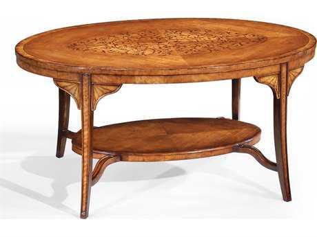 Jonathan Charles Versailles Medium Satinwood 42.5 x 28.5 Oval Coffee Table