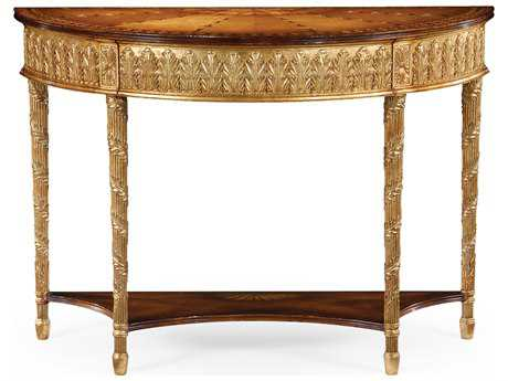 Jonathan Charles Versailles Light Antique Gold-Leaf 46.5 x 19 Demilune Console Table