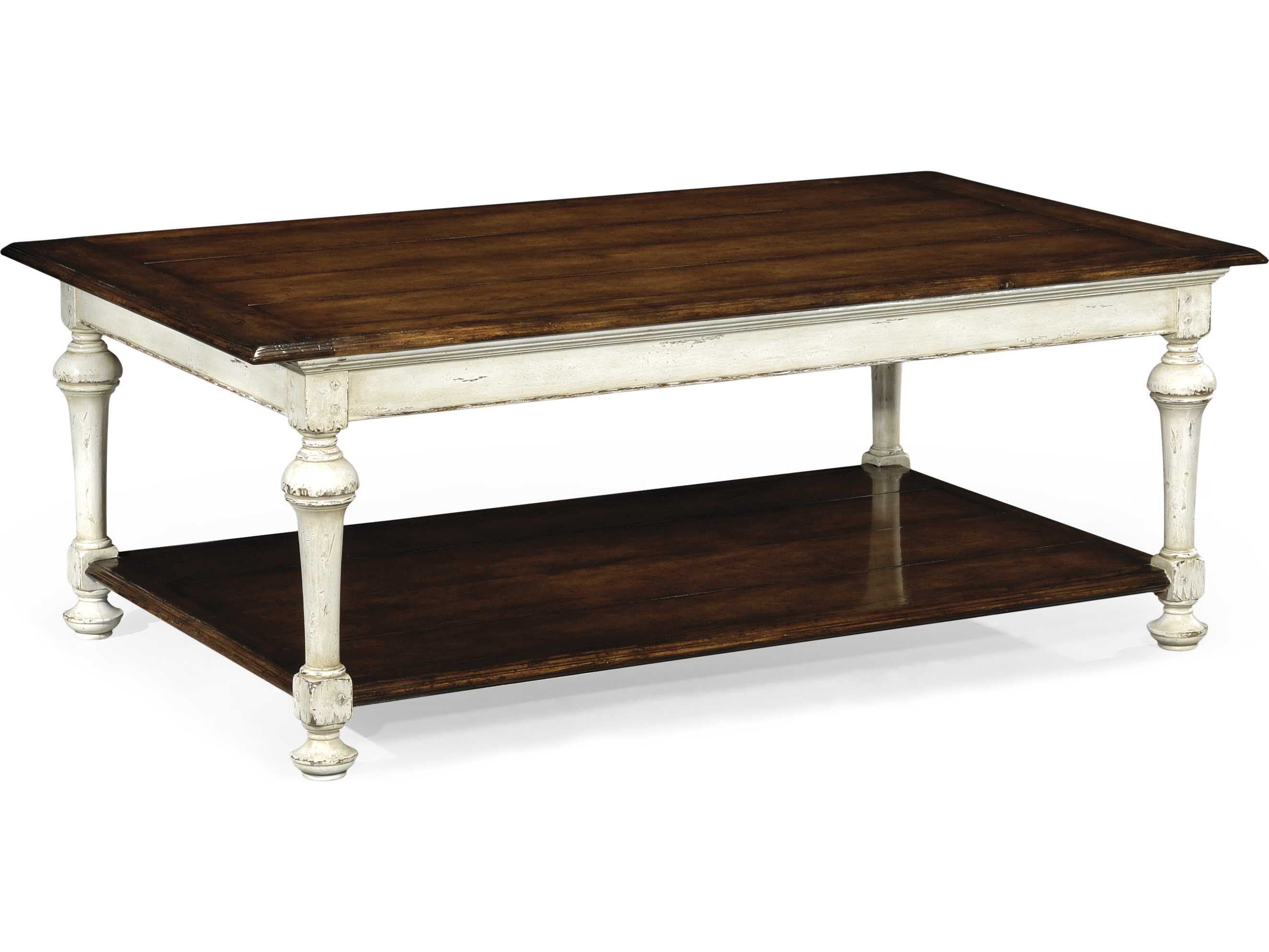 Jonathan Charles Country Farmhouse Painted Off White 54 X 32 Rectangular Coffee Table 493725