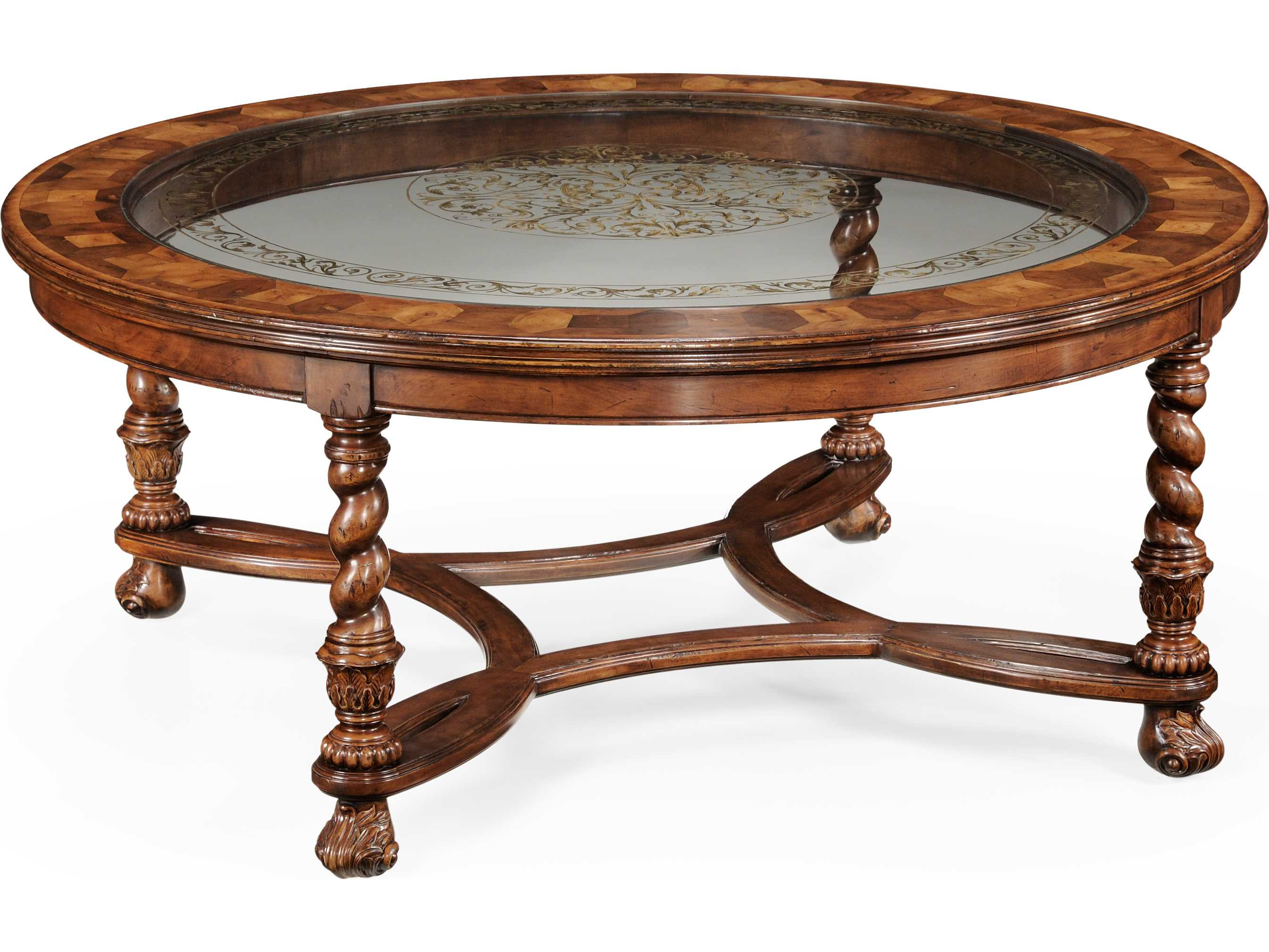 Jonathan Charles Windsor Medium Walnut 48 Round Coffee Table 493849