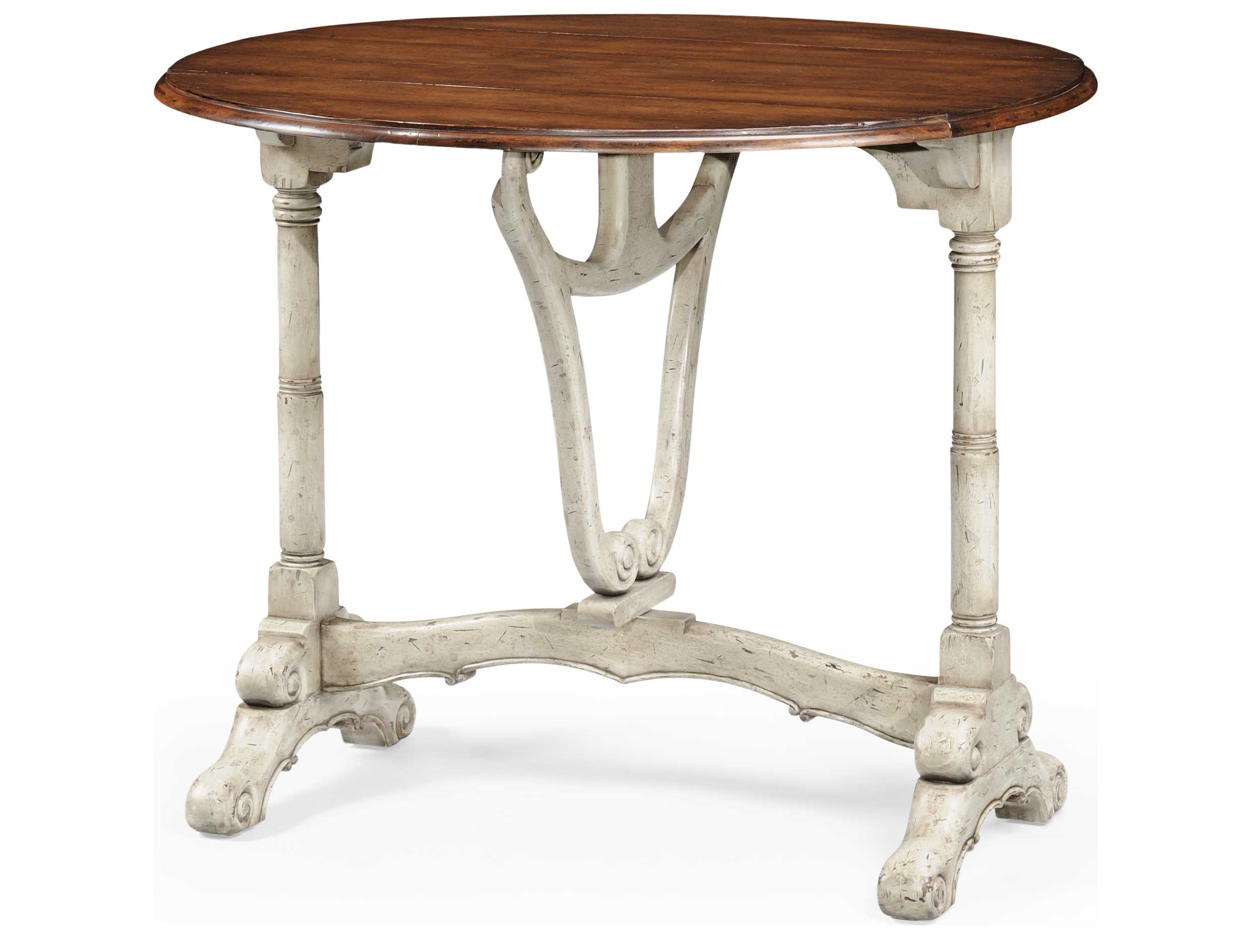 Jonathan Charles Country Farmhouse Painted Country Sage 36 Round Pedestal Table