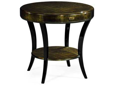 Jonathan Charles Indochine Dark Bronze Round Side Table with Drawer