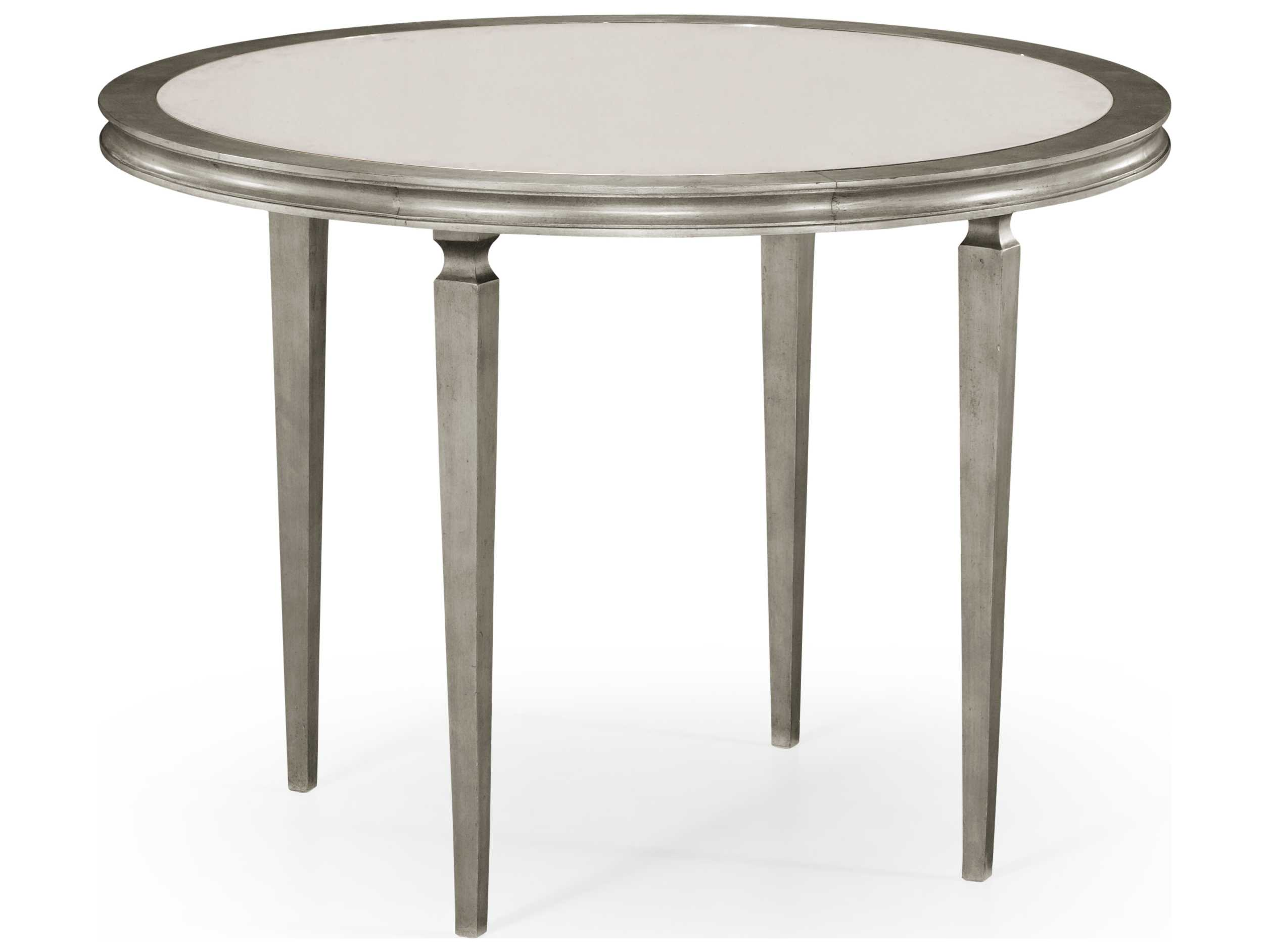 Jonathan charles luxe gilded antique silver leaf 42 round for 42 dining table with leaf