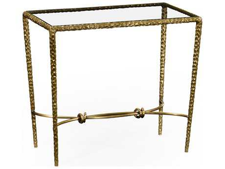 Jonathan Charles Stiletto Light Brown Brass 28 x 16 Rectangular Console Table