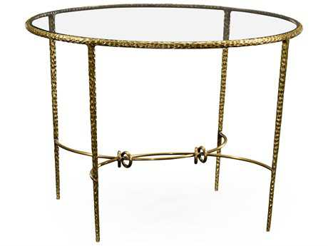 Jonathan Charles Stiletto Light Brown Brass 42 Round Foyer Table