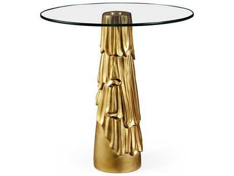Jonathan Charles Versailles collection Light Antique Gold-Leaf With Carved Floral Detail Pedestal Table