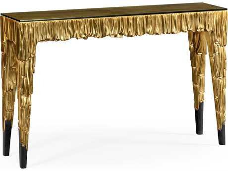 Jonathan Charles Versailles collection Light Antique Gold-Leaf With Carved Floral Detail Console Table
