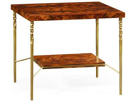 Jonathan Charles Curated Tropical Walnut Crotch Square Side Table with Brass Base