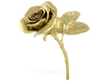Jonathan Charles Curated Polished Brass Rose Decorative Accent