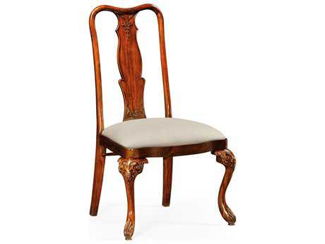 Jonathan Charles Chatsworth Medium Antique Mahogany Satin Mazo Upholstered Dining Side Chair
