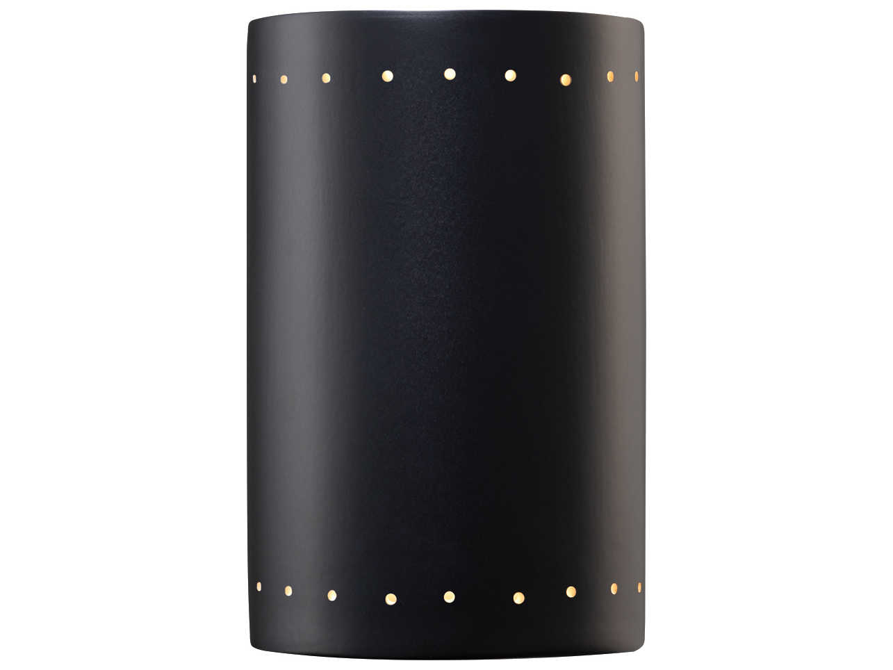 Justice Design Group Ambiance Cylinder Large Ceramic Outdoor Wall Sconce With Perfs CER-1295W