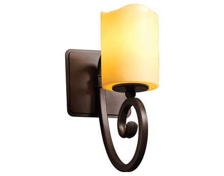 Justice Design Group Candlearia Victoria Faux Candle Resin Wall Sconce Antique Brass / Amber / Cylinder FLAT Rim - CNDL-8571-10-AMBR-ABRS