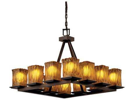 Justice Design Group Veneto Luce Montana 12-Light Ring Chandelier Dark Bronze / Amber / Square Rippled Rim - GLA-8668-26-AMBR-DBRZ