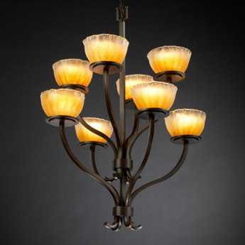 Justice Design Group Veneto Luce Sonoma Venetian Glass Eight-Light Chandelier Dark Bronze / Amber / Cylinder Rippled Rim - GLA-8788-16-AMBR-DBRZ