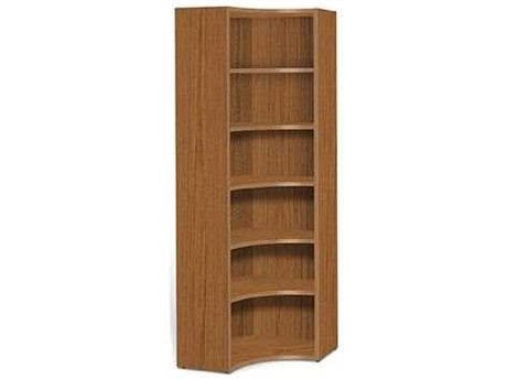 Jesper Office 2000 Collection 30L x 86H Teak Five Shelf Corner Bookcase
