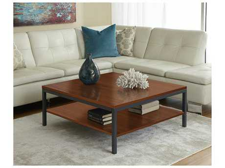 Jesper Office 100 Parson 39'' Square Cherry Coffee Table with Shelf