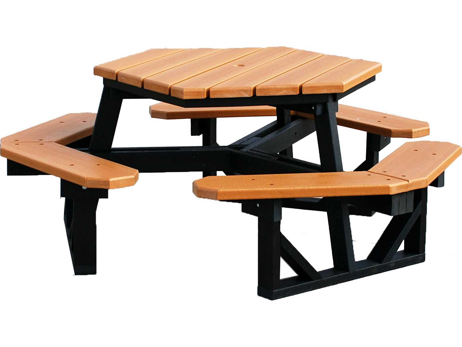 frog furnishings hex recycled plastic 6 ft 69 5 x 69 5 hexagon picnic table pb6hex. Black Bedroom Furniture Sets. Home Design Ideas