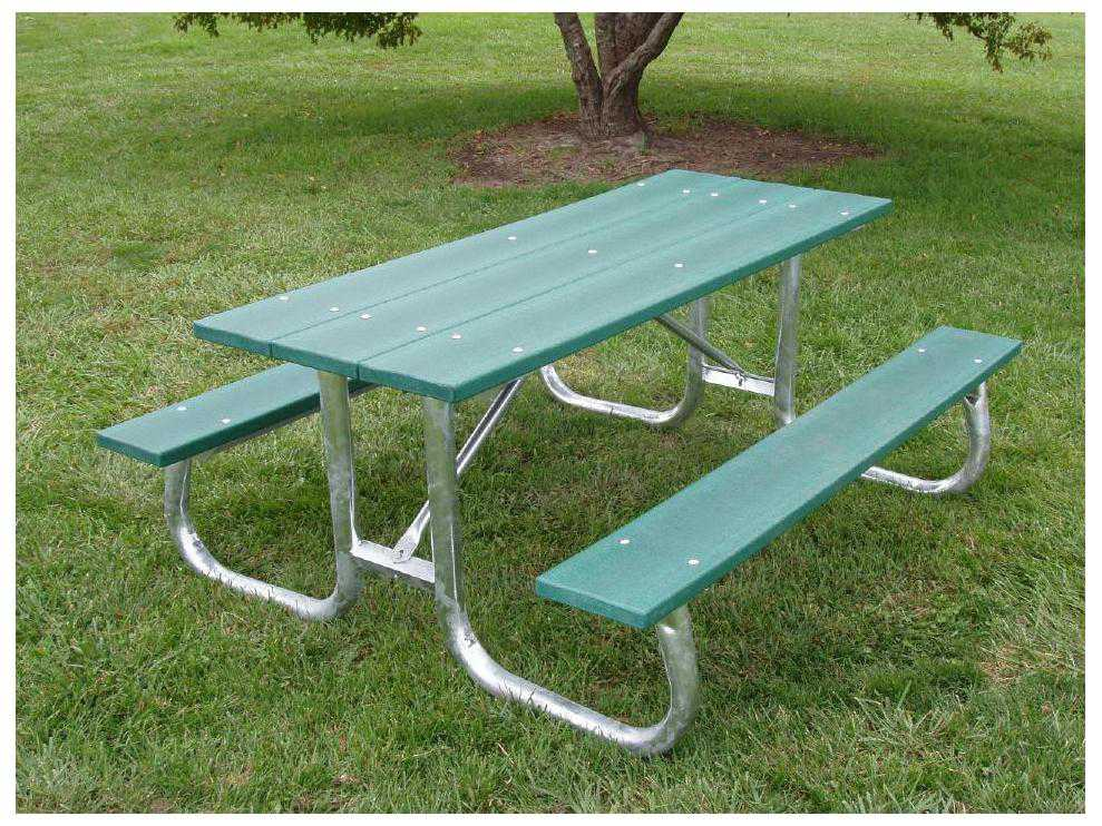 Frog furnishings galvanized steel recycled plastic 8 ft for 12 foot picnic table
