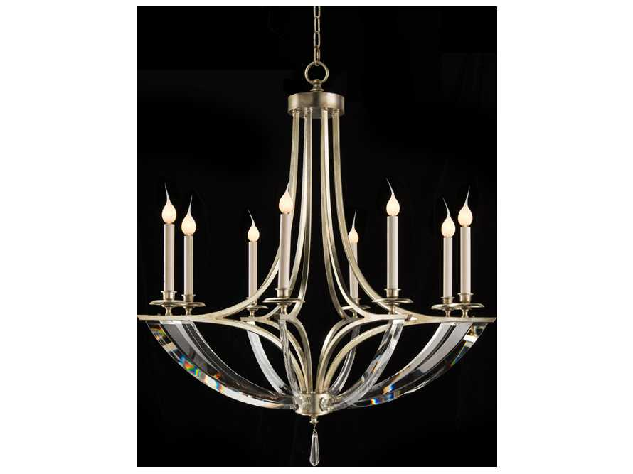 john richard bent crystal steel eight bulb grand. Black Bedroom Furniture Sets. Home Design Ideas