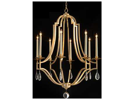 John Richard Gold Leaf Crystal Standard Chandelier