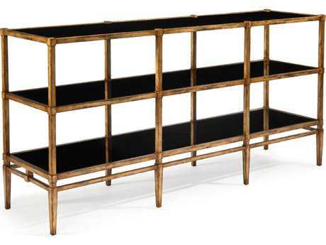 John Richard Sofa Table Shelves Black Glass