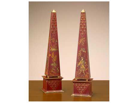 John Richard Red Obslisque Decorative Accent (Two-Piece Set)