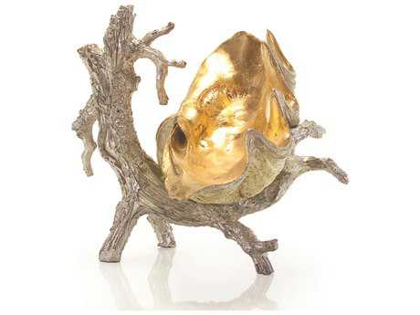 John Richard Silver Driftwood Stand with Gold Clam Decorative Sculpture