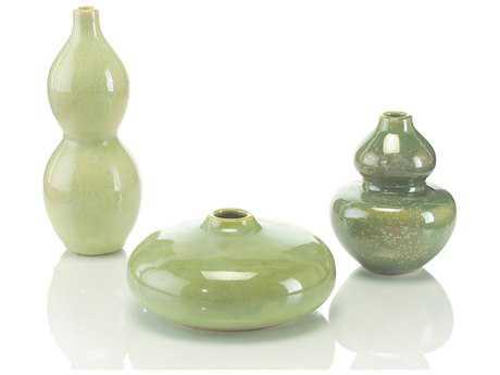 John Richard Garden Green Petite Ceramic Jars (Three-Piece Set)