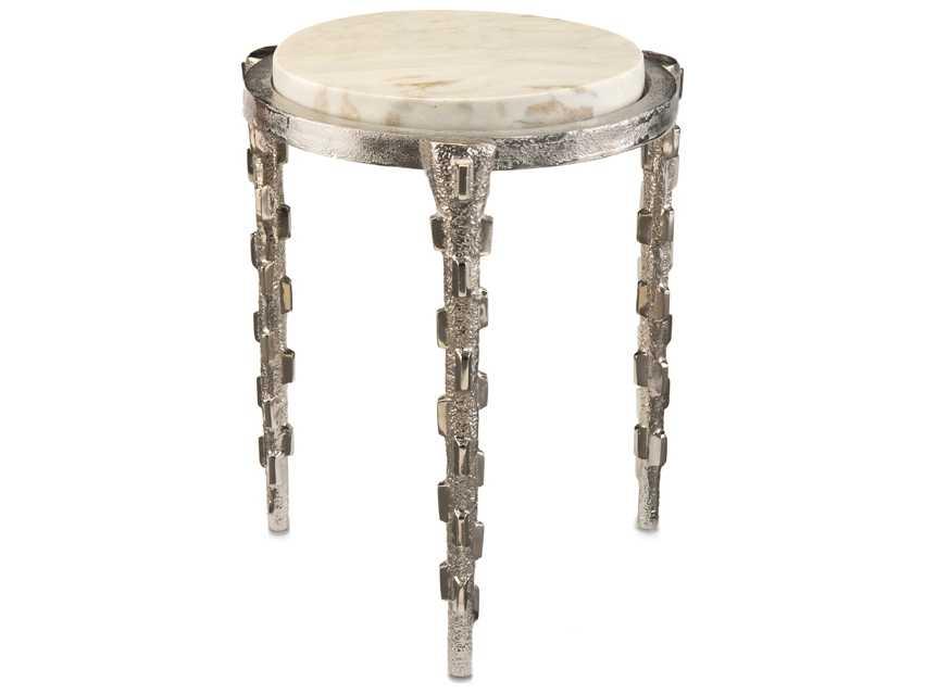 john richard white marble top round side table jra 9672. Black Bedroom Furniture Sets. Home Design Ideas