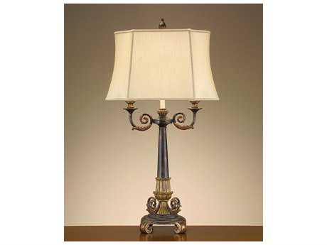 John Richard Buffet Lamps Black Guilded Double Arm Candlestick Table Lamp