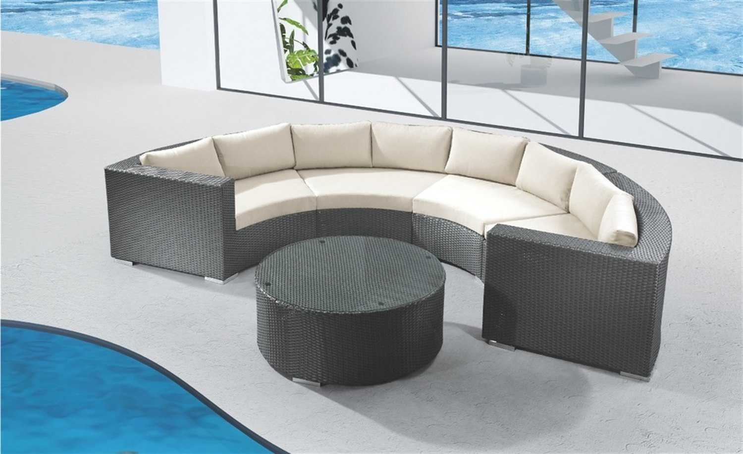 jaavan round cushion wicker sectional lounge set round. Black Bedroom Furniture Sets. Home Design Ideas