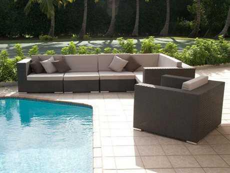 Jaavan Venice Wicker 6 Person Cushion Sectional Patio Lounge Set