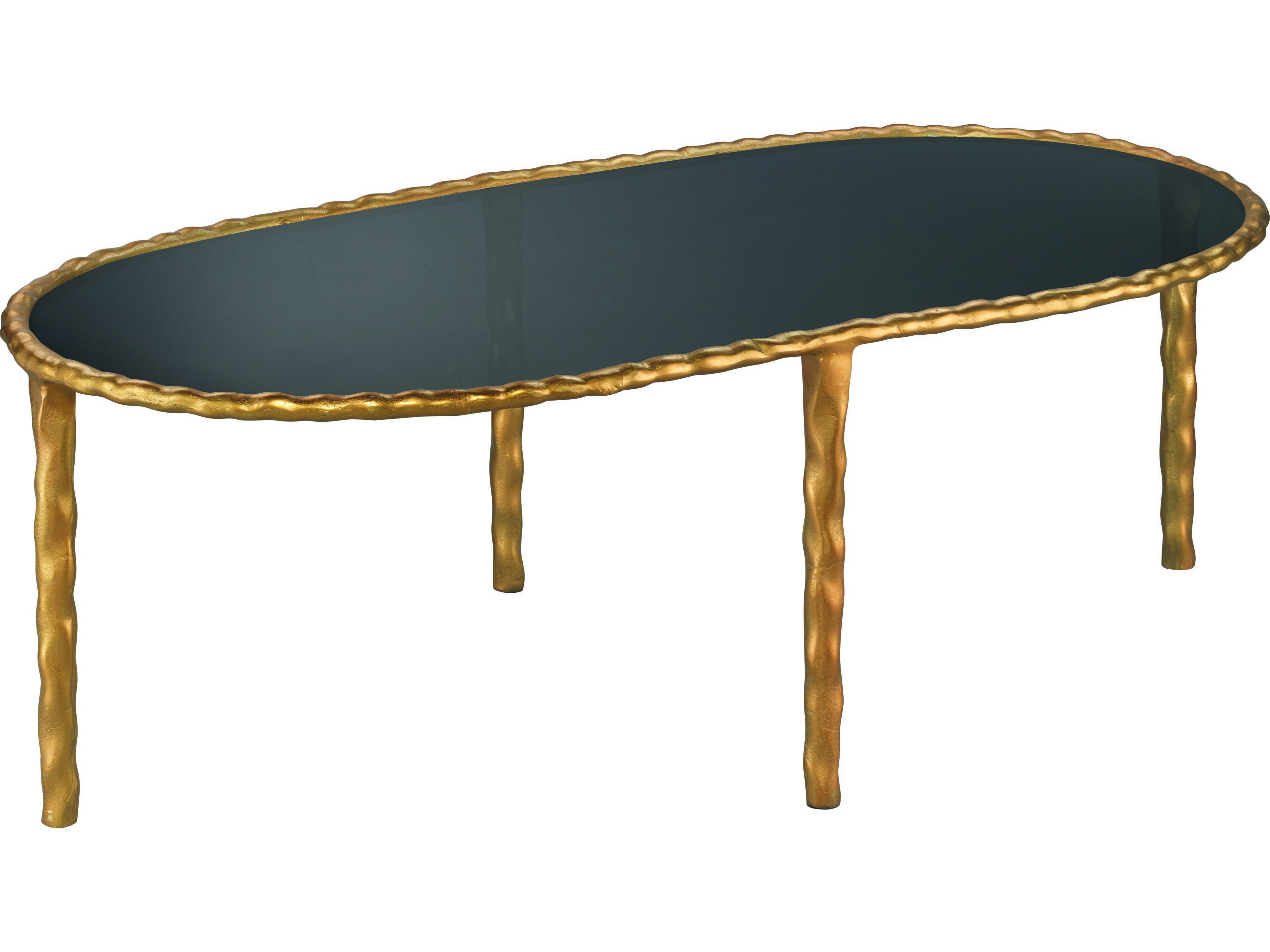 Jamie Young Company Jmf 48 5 39 39 X 24 39 39 Oval Gold Black Glass Coffee Table 20jmfov Ctbk