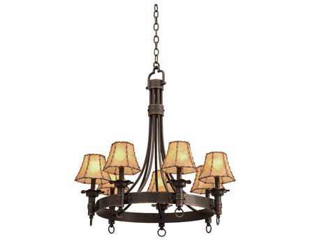Kalco Lighting Americana Seven-Light 30'' Wide Chandelier Antique Copper / Calcite - 4207AC-CALC