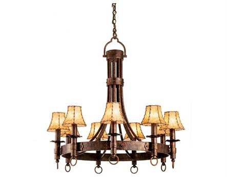 Kalco Lighting Americana Nine-Light 36'' Wide Chandelier Antique Copper / Calcite - 4209AC-CALC