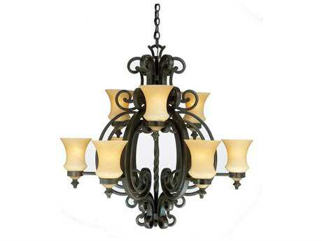 Kalco Lighting Hamilton Nine-Light 36'' Wide Chandelier Copper Claret - 4439CC