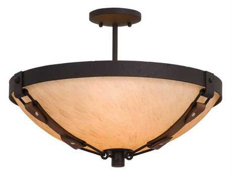 Kalco Lighting Rodeo Drive Three-Light Semi-Flush Mount Light Antique Copper / G3108 - 4645AC-G3108