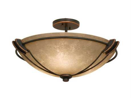 Kalco Lighting Grande Three-Light Semi-Flush Mount Light Antique Copper / G3108 - 4848AC-G3108