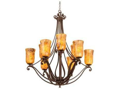 Kalco Lighting Somerset Tortoise Shell Nine-Light 38'' Wide Chandelier